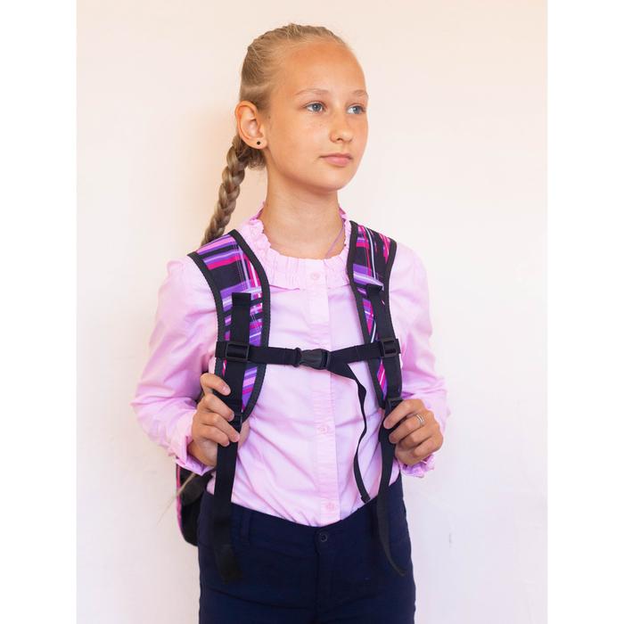 Рюкзак школьный, 2 отдела на молниях, наружный карман, цвет фиолетовый/разноцветный - фото 408727739