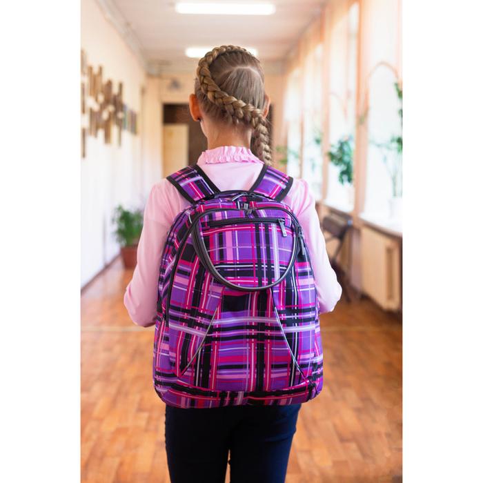 Рюкзак школьный, 2 отдела на молниях, наружный карман, цвет фиолетовый/разноцветный - фото 408727738