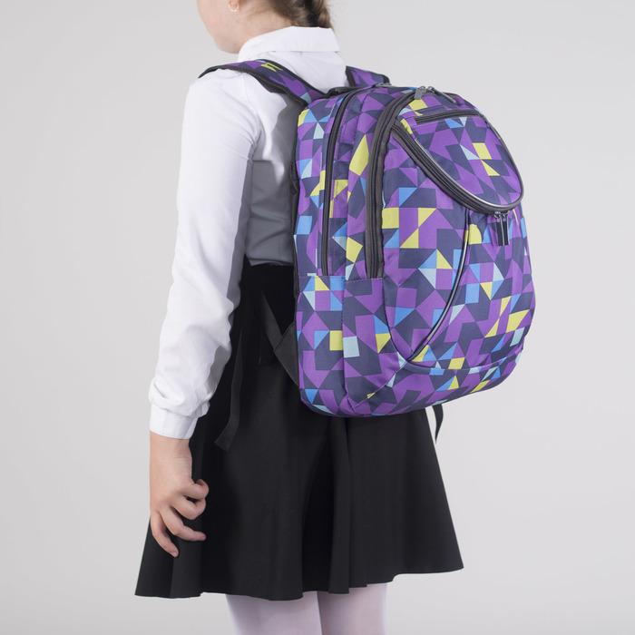 Рюкзак школьный, 2 отдела на молниях, наружный карман, цвет сиреневый