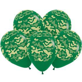 """Шары латексные 12"""" «Камуфляж», пастель, набор 50 шт., цвет тёмно-зелёный"""