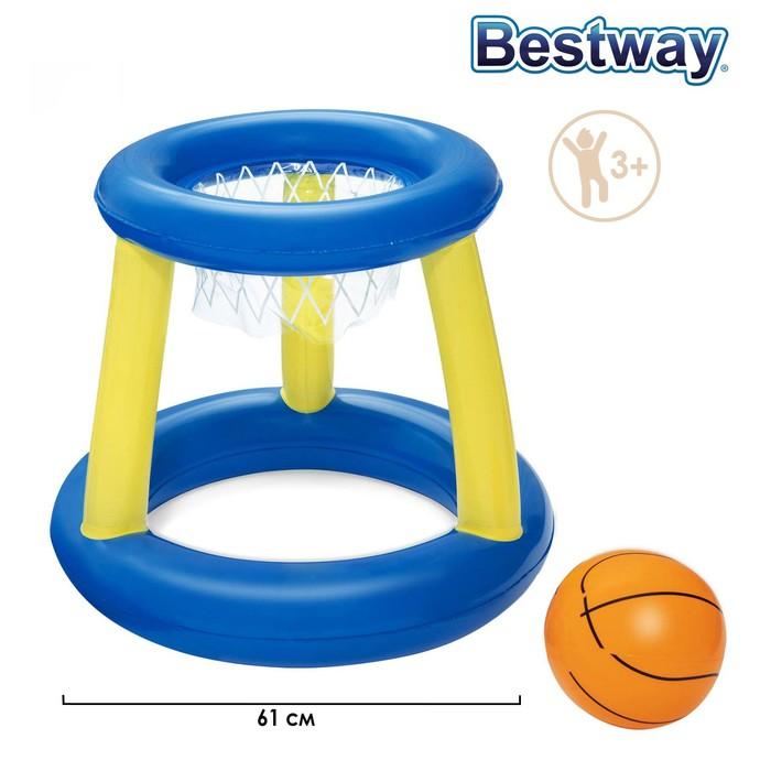"""Набор для игр на воде """"Баскетбол"""", d=61 см, корзина, мяч, 3 кольца, от 3 лет"""
