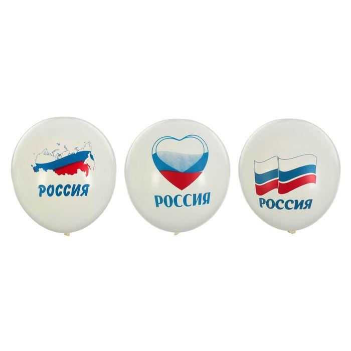 Шары латексные «Россия», пастель, набор 50 шт., цвет белый - фото 308468927