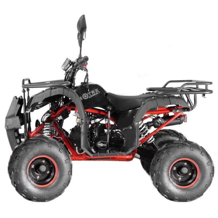 Квадроцикл подростковый бензиновый MOTAX ATV Grizlik Super LUX 125 cc, чёрный, красная рама