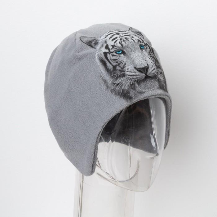 "Шапка детская Collorista ""Тигр"", серый, р-р 54, флис"