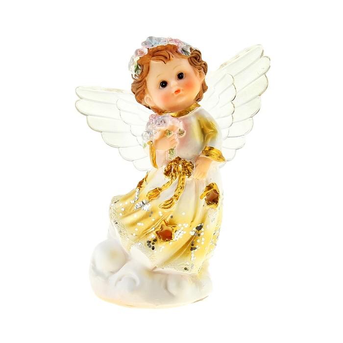"""Сувенир световой """"Золотистый ангел с букетом"""", МИКС"""