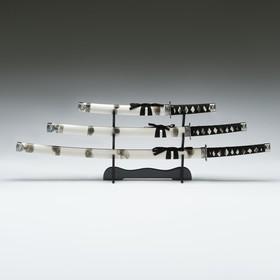 Сув. изделие катаны 3в1 на подставке, ножны дерево, белая дымка глянец 51/77/104см