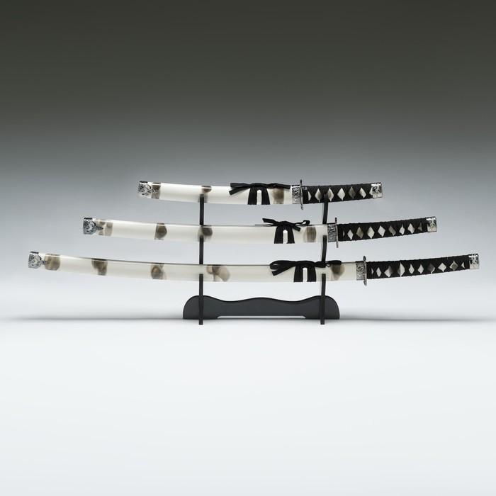 Сув. изделие катаны 3в1 на подставке, ножны дерево, белая дымка глянец 51/77/104см - фото 8875727