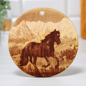 "Board of solid cedar ""Horse"", round, 18 × 18 cm"