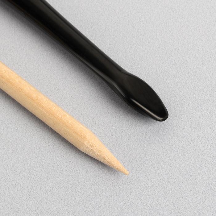 Набор маникюрный, 2 предмета, цвет чёрный/бежевый