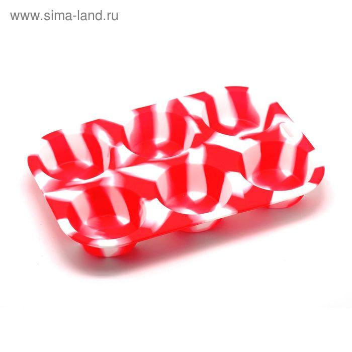 """Форма для выпечки кексов """"Маффин"""", бело-красная"""