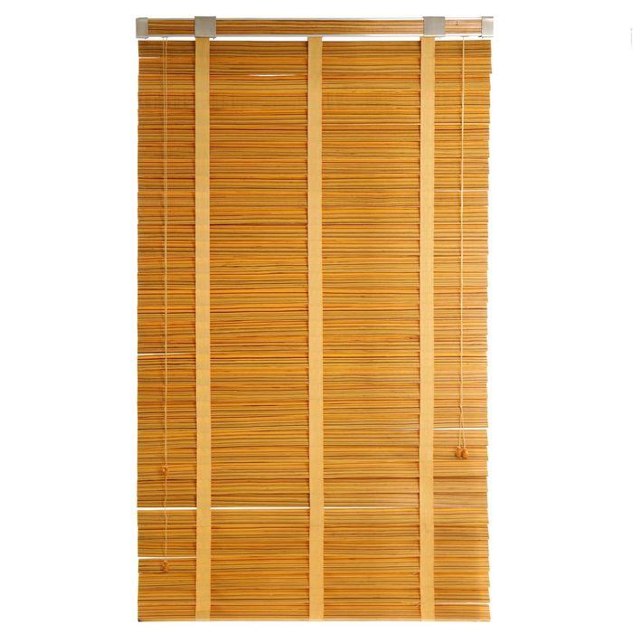 Жалюзи деревянные, размер 100х160 см, цвет зебрано жёлтое