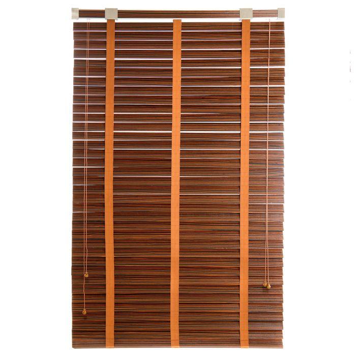 Жалюзи деревянные, размер 100х160 см, цвет зебрано шоколад