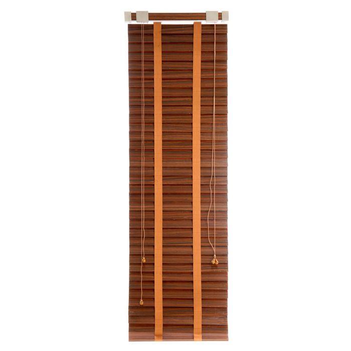 Жалюзи деревянные, размер 50х160 см, цвет зебрано красное