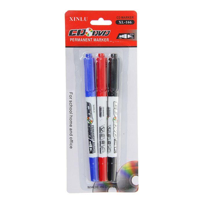 Набор маркеров для CD/DVD двусторонних 3 цвета 0,7/2,0 мм на блистере (красный, чёрный, синий)