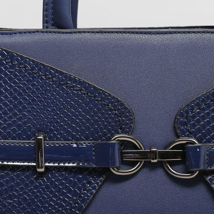 Сумка женская, отдел с перегородкой, наружный карман, длинный ремень, цвет синий
