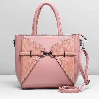 Сумка женская, отдел с перегородкой, наружный карман, длинный ремень, цвет розовый