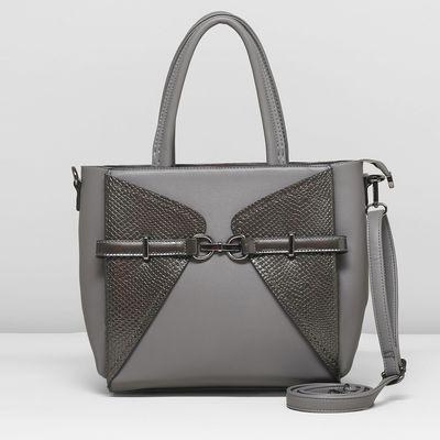 Сумка женская, отдел с перегородкой, наружный карман, длинный ремень, цвет серый