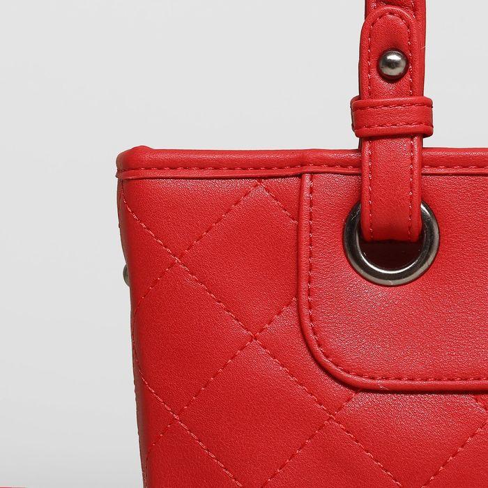 Сумка женская, отдел с перегородкой, наружный карман, длинный ремень, цвет красный
