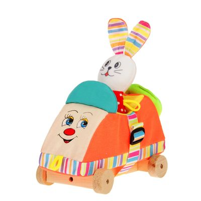"""Развивающая игрушка""""Машинка с зайчиком"""" Д-201-13  МИКС"""