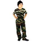 """Детский камуфляжный костюм """"Меткий снайпер"""", штаны, футболка, маска, рост 128 см"""