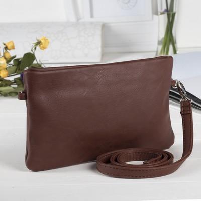 Сумка женская на молнии, 1 отдел, наружный карман, длинный ремень, цвет коричневый