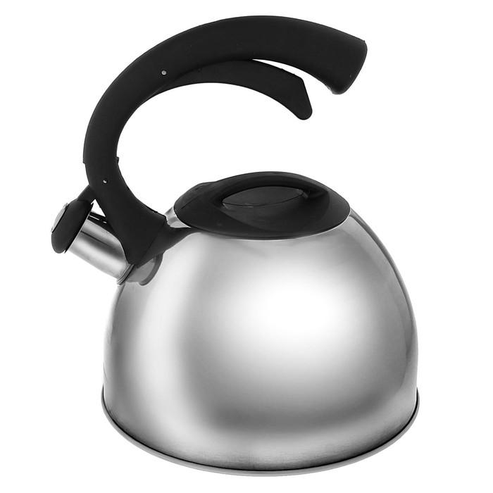 """Чайник """"Оптимал"""", со свистком, макс. объем 2,5 л, фиксированная ручка, с зеркальной полировкой, цвет черный"""