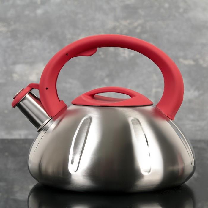 """Чайник со свистком """"Глобал"""", макс. объем 2,8 л, фиксированная ручка, цвет красный"""