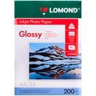 Фотобумага LOMOND для струйной печати, А4, 200 г/м2, 25 листов, односторонняя, глянцевая