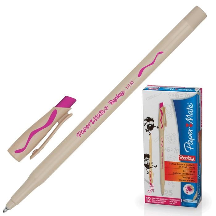 Ручка Пиши-стирай шариковая PAPER MATE Replay, толщина письма 1,0 мм, стержень розовый
