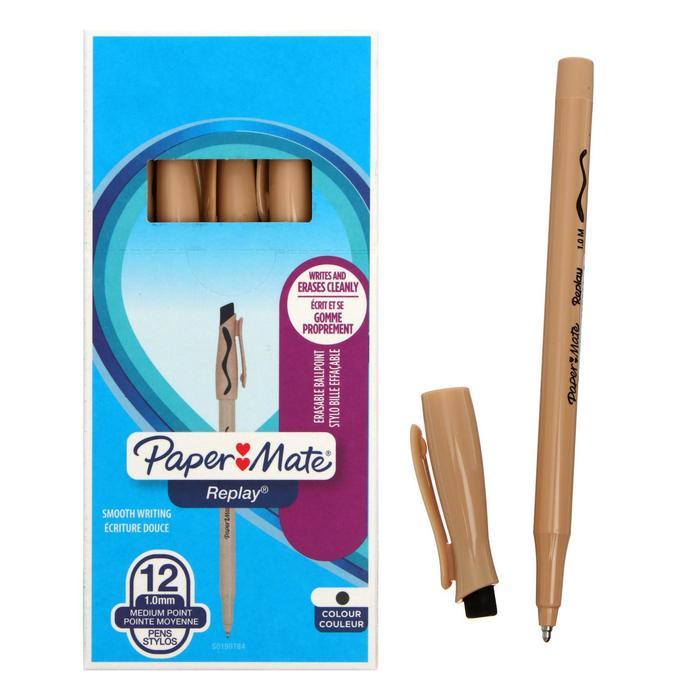 Ручка Пиши-стирай шариковая PAPER MATE Replay, толщина письма 1,0 мм, стержень чёрный