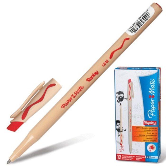 Ручка Пиши-стирай шариковая PAPER MATE Replay,толщина письма 1,0 мм, стержень красный