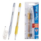 Набор ручек гелевых 2 штуки PAPER MATE PM 300, толщина письма 0,7 мм, блистер, стержень: золото, серебро