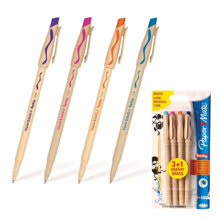 Набор ручек шариковых Пиши-стирай 4 цвета PAPER MATE Replay, толщина письма 1,0 мм, стержень: фиолетовый, оранжевый, бирюзовый, розовый