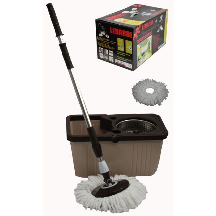 Набор для уборки LENARDI: швабра, ведро, ёмкость для отжима металлическая, кофейный, в подарочной упаковке
