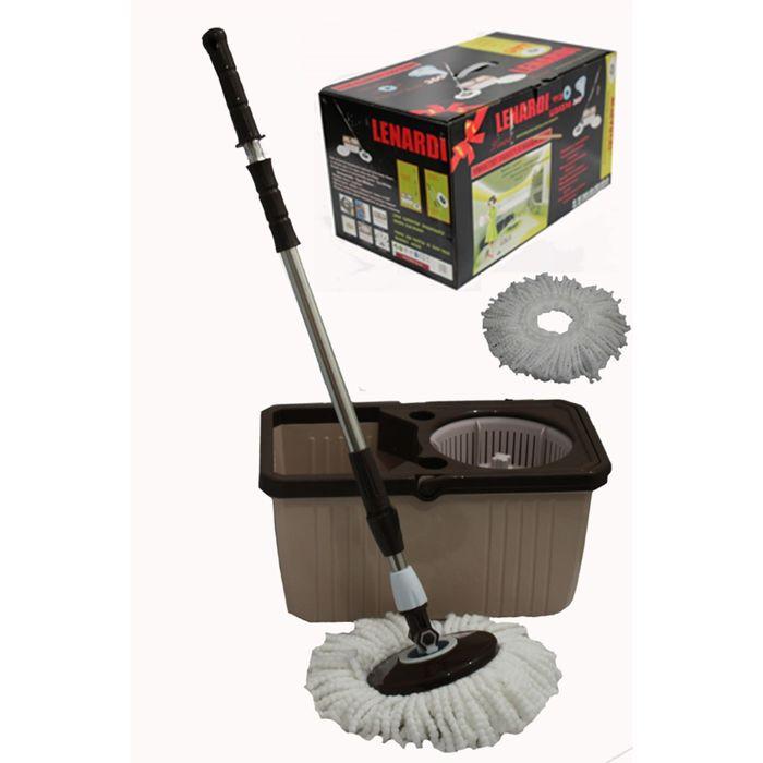 Набор для уборки LENARDI: швабра, ведро, ёмкость для отжима пластиковая, кофейный, в подарочной упаковке