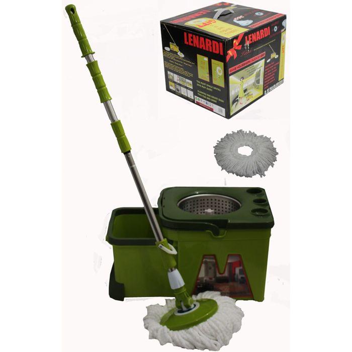 Набор для уборки LENARDI: швабра, ведро, ёмкость для отжима металлическая, отсеки для хранения, зелёная, в подарочной упаковке