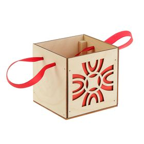 Подарочная коробка 'Орнамент', красная, ручка- лента, 10х10х10см Ош