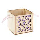"""Подарочная коробка """"Сердца"""" фиолетовая, ручка- лента, 10х10х10см"""