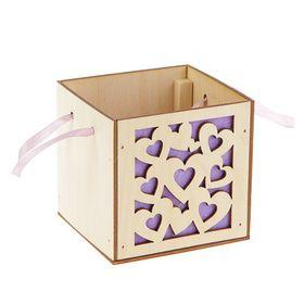 Подарочная коробка 'Сердца' фиолетовая, ручка- лента, 10х10х10см Ош