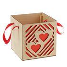 """Подарочная коробка """"Сердца"""" красная, ручка- лента, 15х15х15см"""