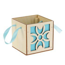 Подарочная коробка 'Узоры', голубая, ручка- лента, 10х10х10см Ош