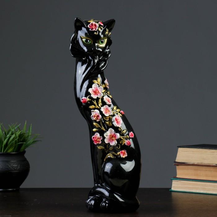 """Копилка """"Кошка Маркиза"""" чёрная, с бело-розовыми цветами"""