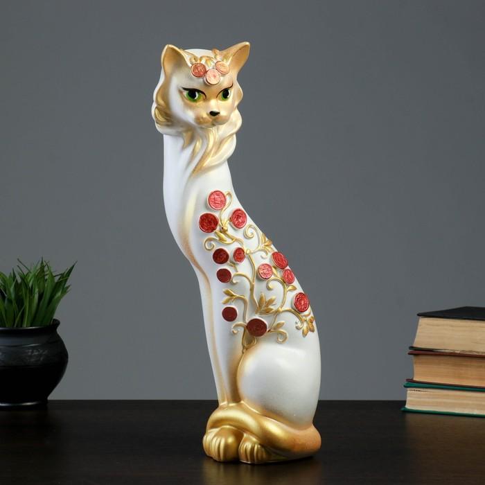 """Копилка """"Кошка Маркиза"""" средняя, денежное дерево, белая"""