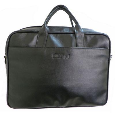 Портфель муж  ва493-4205,42*10*35,отд на молнии, н/карман, длин ремень,черный матовый