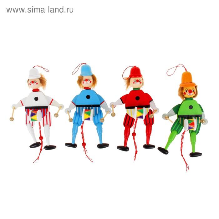 """Сувенир-дергунчик """"Клоун с барабаном"""", цвета МИКС"""