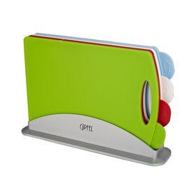 Набор досок разделочных CORTA 5 предметов: 4 разноцветные доски 33,2х7,8х22 см, контейнер для хранения