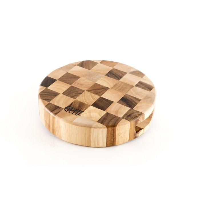 """Доска разделочная двухцветная """"Шахматка"""", круглая, 23x5 см"""