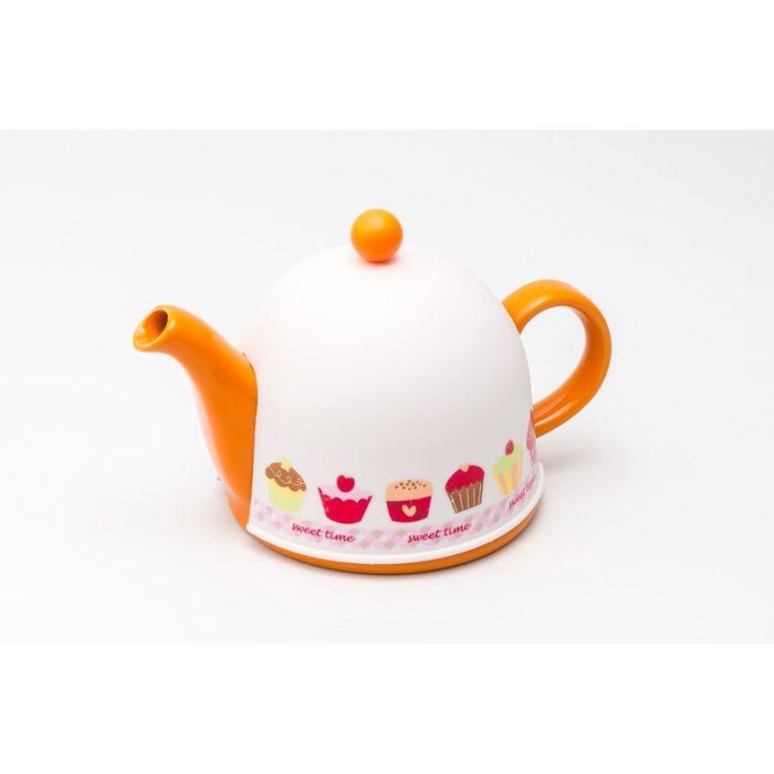 Заварочный чайник PELANGI 22х13,5х11,5 см, 0,8 л, бело-оранжевый
