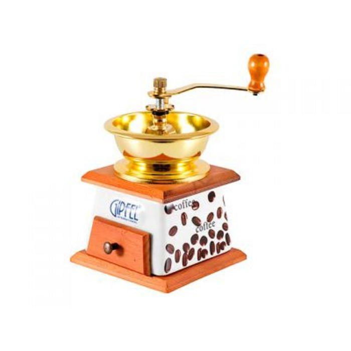 Кофемолка ручная Denaya, 12,5 х 12,5 х 18,5 см, жернова керамика, подставка дерево