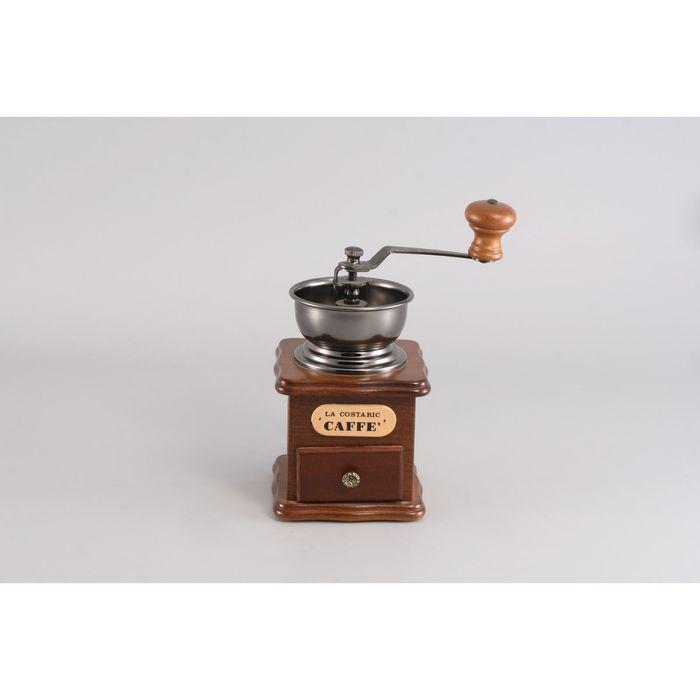 Кофемолка ручная Klaritti, 10,5 х 10,5 х 17,5 см, жернова керамика, подставка дерево